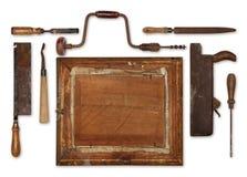 A madeira do trabalho da colagem utiliza ferramentas o carpinteiro que forma um quadro Foto de Stock Royalty Free