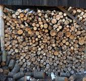 Madeira do vidoeiro e de carvalho, lenha composta em uma pilha, fundo Imagens de Stock