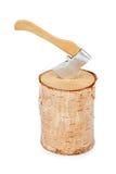 Madeira e machado do fogo de log Imagens de Stock