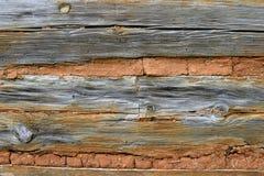 Madeira e parede de tijolo velhas Fotografia de Stock