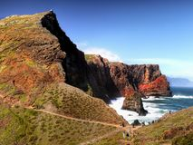 Madeira, East  Rocky Coast, San Lorenzo, Portugal. Scenic rugged coastline and Atlantic Ocean view. San Lorenzo, east coast, Madeira, Portugal Stock Images