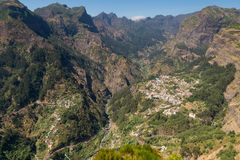 Madeira. Eira do Serrado viewpoint. In the background the villag. E of Curral das Freiras Stock Image