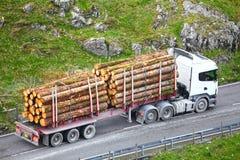 A madeira entra o reboque do caminhão Fotografia de Stock Royalty Free