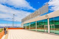 Madeira-Flughafen mit Beschriftung, Außenansicht Lizenzfreies Stockbild