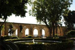 Madeira: The fountain; trees and arcades in the upper Baracca Ga stock images