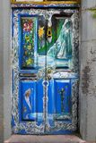 Street Art, Doorway, Funchal Madeira, Portugal. Madeira, Funchal, painted doors in the old city, Santa Maria Street. Portugal Royalty Free Stock Image