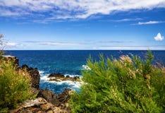 Madeira green beach, summer tropical seaside, Portugal Royalty Free Stock Photo