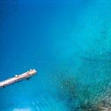 Madeira inoperante, peixes, lago turquesa-colorido Fotos de Stock