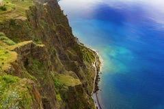 Madeira-Insel, Draufsicht von Cabo Girao auf südlicher Küstenlinie Stockfotografie