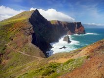 Madeira Island, Coastal Hiking Trail. Scenic Madeira coastal hiking trail. Atlantic Ocean and South coast view. Madeira island. Portugal Stock Photo