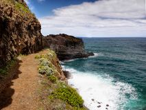 Madeira Island, Coastal Hiking Trail. Scenic Madeira coastal hiking trail. Atlantic Ocean and South coast view. Madeira island. Portugal Stock Photos