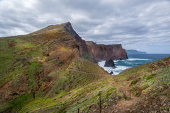 Madeira island hiking path in a beautiful volcanic landscape. Royalty Free Stock Photos