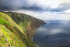 Madeira island landscape. Sun illuminated landscape on Madeira island, Portugal stock photography