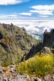 Madeira Island, Mountain Hiking Trail View. The best Madeira mountain hiking trail from peaks - Pico Areeiro to Pico Ruivo. Madeira island, Portugal Royalty Free Stock Photo