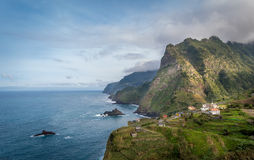 Madeira island north coast steep rocks and mountains. Royalty Free Stock Image