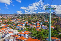 Madeira island, Portugal. Funchal city cable car houses view Stock Images