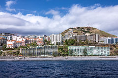 Madeira island, Portugal. Seafront houses of Funchal. stock photo
