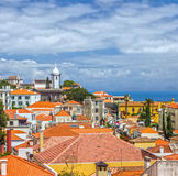 Madeira island in Portugal. Seafront houses of Funchal royalty free stock photos