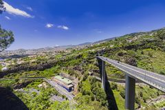 Madeira island Portugal typical landscape, Funchal city panorama, wide angle. 2016 from botanical garden royalty free stock photo