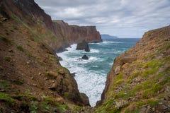 Madeira island rocky cliffs Stock Images