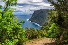 Madeira island scenic mountain and ocean view. Madeira island scenic mountain and Atlantic ocean view, Portugal, blue, coast, coastline, green, landscape, nature stock photos