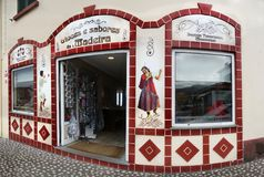 Madeira Island, Architecture Street View, Portugal. Beautiful decorated souvenirs shop entrance. Santana town, street view. Madeira island, Portugal Stock Photography