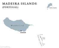 Madeira Islands political map. With capital Funchal. Portuguese archipelago in the North Atlantic Ocean including Madeira, Porto Santo and the Desertas. Gray Royalty Free Stock Images