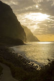 Madeira landscape. Madeira island, coast landscape at sunset - Atlantic ocean - Portugal Stock Images