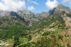 Madeira landscape with mountains. Spectacular Curral des freiras or Nun's valley, Madeira, Portugal, is situated in a green terraced valley and encircled by Royalty Free Stock Photo