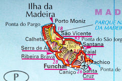 Madeira map. The island of Madeira in detail on the map Stock Photo