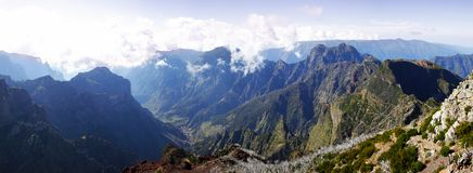 Madeira mountain panorama from the sky Royalty Free Stock Image