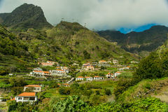Madeira mountain village view (2). Mountains villages of Madeira island. View in the canyon leading from the south side of the island to São Vicente in the royalty free stock photography