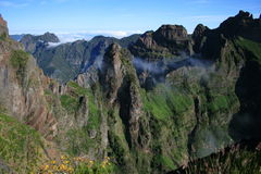Madeira mountains. View from the viewpoint on Pico Areeiro to the central mountains of Madeira, portugal Stock Photo