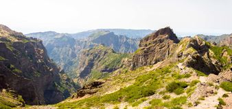 Madeira mountains. Highest point in Madeira looking down the valley royalty free stock image