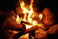 Madeira no incêndio Fotografia de Stock