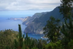 Madeira northcoast. View at the north-coast of the portuguese isle of madeira. In the background is still to see the peninsula Sao Lourenco Royalty Free Stock Image