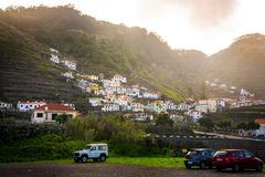 MADEIRA, PORTUGAL, 1 March 2018: Madeira houses perched on the hill royalty free stock images