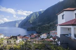 Madeira, Portugal - the seaside and some houses. stock images