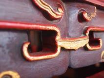Madeira que cinzela testes padrões na beira chinesa Imagens de Stock Royalty Free