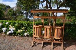 Madeira que recicla recipientes Fotografia de Stock Royalty Free