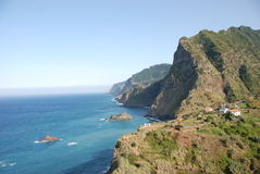 Madeira - rocks, blue sky and atlantic ocean Stock Image