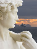 Madeira Sculpture. With Cruse Liner royalty free stock photos