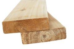 Madeira serrada de madeira isolada Imagens de Stock