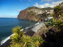 Madeira, South Coast, Camara de Lobos, Portugal. Scenic coast and Camara de Lobos - fishing village on the South coast. Madeira Island, Portugal.  Europe Stock Photos