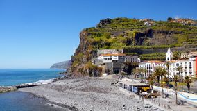 Madeira, South Coast, Ponta do Sol, Portugal. Scenic coast and  Ponta do Sol - fishing village on the South coast. Madeira Island, Portugal.  Europe Royalty Free Stock Photo