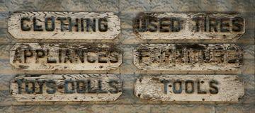 A madeira velha pôs sinais de propaganda Imagens de Stock