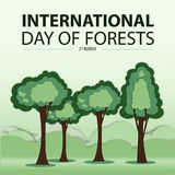 Madeira verde do corte do papel da árvore ilustração royalty free