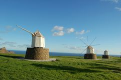 Madeira: Windmills at the coast of the holiday island Porto do S royalty free stock images
