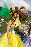 Madeira Wine Festival in Estreito de Camara de Lobos, Madeira, Portugal. Women wearing in colorful costume at Madeira Wine Festival in Estreito de Camara de Stock Images