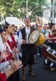 Madeira Wine Festival in Estreito de Camara de Lobos,. Folk music group in local costumes performs  a folk dance at Madeira Wine Festival in Esterito de Camara Stock Photography